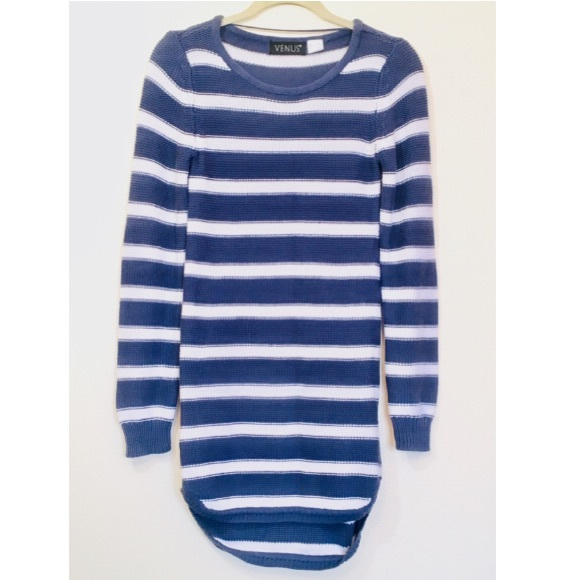 41808dd580c1 NWOT Blue   White Striped Knit Sweater Dress XS. M 5c3a230afe51511c71373a69